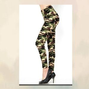 ACTIVE DUTY GREEN CAMOUFLAGE SOFT LEGGINGS